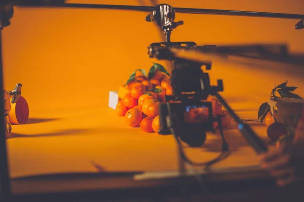 Filming tangerines in the orange set