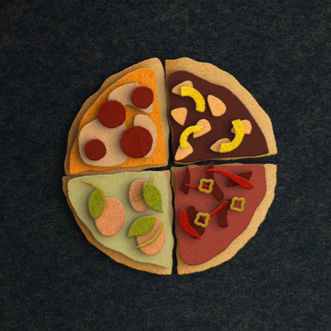 pizza made of felt texture