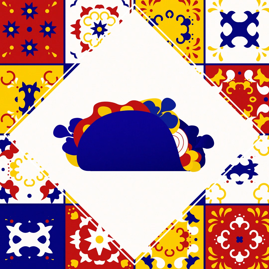 taco with mexican patterns illustration