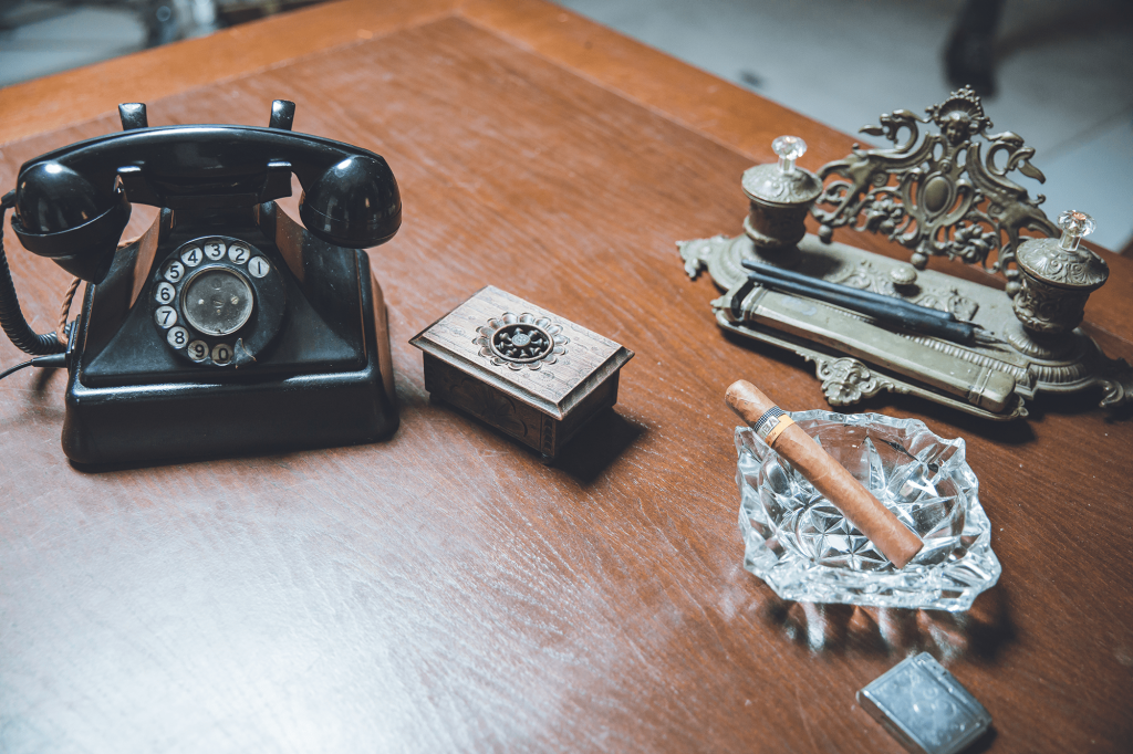 Godfather set design, vintage phone, cigar and other props