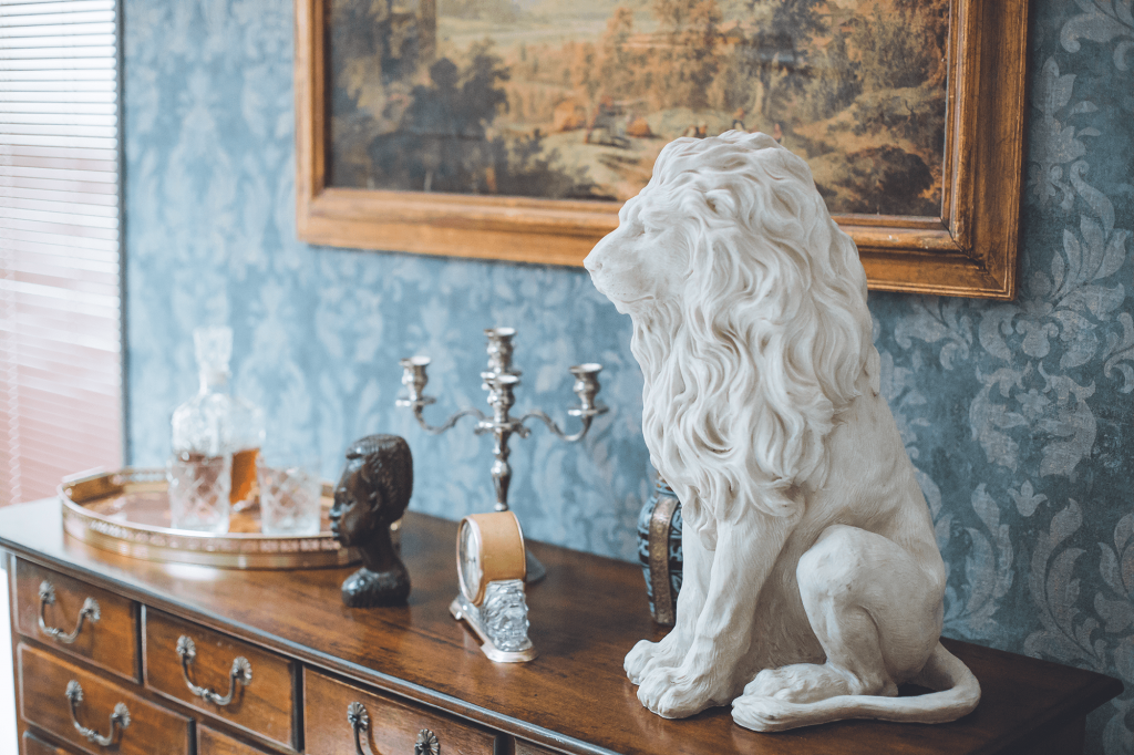 Godfather set design, white lion sculpture and other vintage props